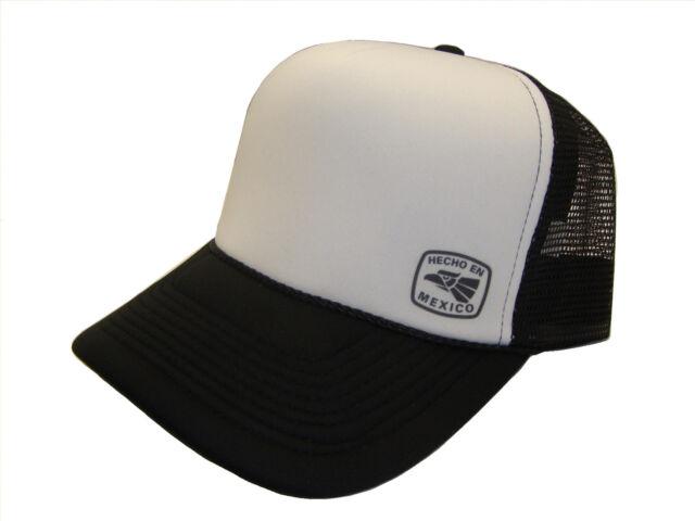 Hecho En Mexico Symbol Side Logo Black White Mesh Trucker Cap Caps