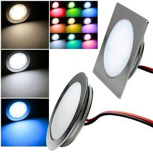 Slim-LED-Encastre-Lampe-Alu-Mat-12V-0-5W-IP67-Fixe-Spots-Encastres
