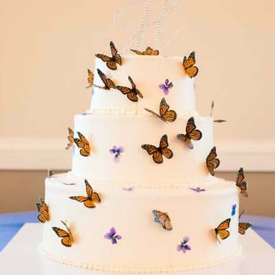 24 PCS set professional fancy edible wafer butterfly for birthdays anniversary weddings engagements baby showers cake and cupcake toppers