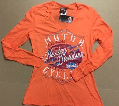 Harley-Davidson Women/'s ORange Reflective Shirt S//S NWTs Small 97761-99VW