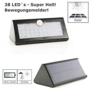 LED Solarleuchte Solarlampe 38 LEDs Wandleuchte PIR Bewegungsmelde<wbr/>r Lampe IP65