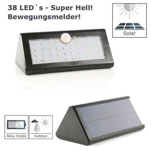LED Solarleuchte Solarlampe 38 LEDs Wandleuchte PIR Bewegungsmelder Lampe IP65