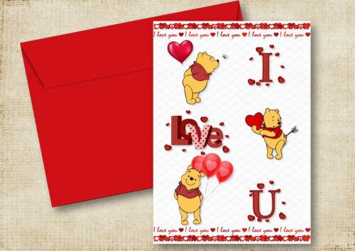 POOH BEAR BIRTHDAY CARD HUSBAND WIFE  Fiancée GIRLFRIEND BOYFRIEND