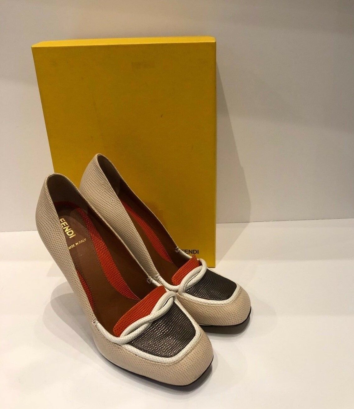Fendi Multicolord Lizard Embossed colorblock Loafer Platform Pumps w  box Sz 41