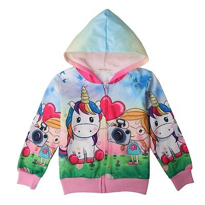 Girls Zip Up Hoodie Jacket Unicorn Sweatshirt with Pockets