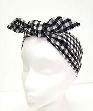 Rockabilly Headscarf Headband Bandana Black White Gingham Hair Tie