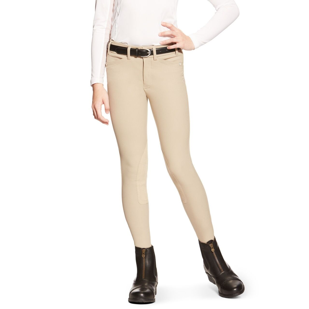 Ariat Heritage ELITE Girls Kids Knee Patch Front Zip Breeches - Tan - All Sizes