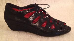 für und Absatz 5 Diana 42 225 M Maccari mit 12 Sandalen Keilabsatz Toe 11 Damen Peep Schwarzer xqUPzqYw