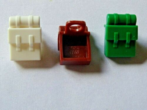 LEGO PART 2424 BROWN WHITE AND GREEN MINIFIGURE BACKPACK NON OPENING