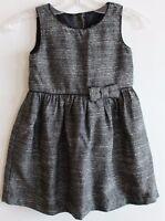 Baby Gap Girl Black & White Textured Dress Or Jumper W/ Bow Trim