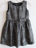 Baby Gap Girl Black & White Textured Dress Or Jumper W/ Bow Trim
