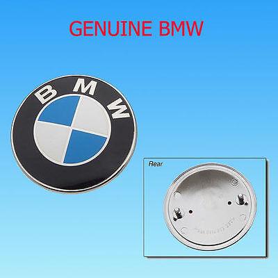 BMW HOOD TRUNK EMBLEM BADGE ROUNDEL 82mm GENUINE FACTORY ORIGINAL