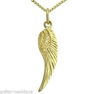Solid 9ct gold angel wing pendant charm necklace curb chain image is loading solid 9ct gold angel wing pendant charm amp aloadofball Choice Image