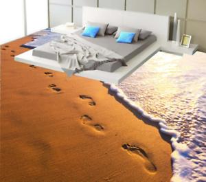 3D Footprints Beach 6 Floor WallPaper Murals Wall Print 5D AJ WALLPAPER UK Lemon
