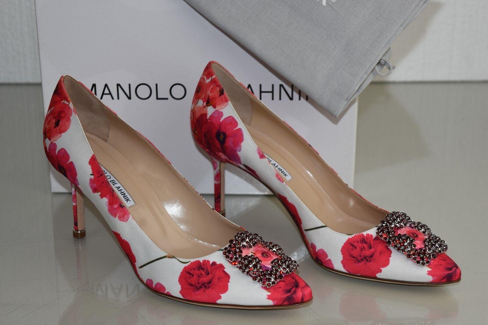 Neu Manolo Blahnik Hangisi 70 Blaumenmuster Satin Jeweled Rote Schuhe 40.5 41.5