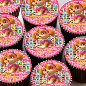 Paw PATROL SKYE Festa Di Compleanno Personalizzata Glassa Commestibile Cupcake Topper 165