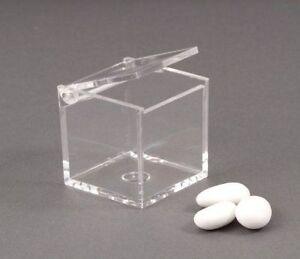 Details zu 25 Box Plexiglas Bonboniere Mandeln Beutel 5x5x5 Zum Selber  Machen Stock Kleine