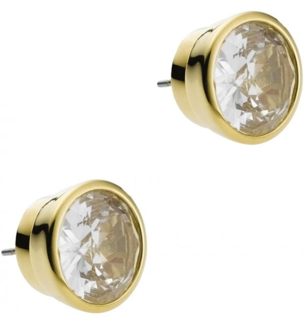 NEW MICHAEL KORS MKJ1056710 MKJ1056 GLITZ GOLD TONE ROUND CRYSTAL STUD EARRINGS