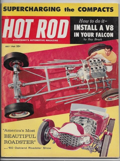 VINTAGE JULY 1960 HOT ROD MAGAZINE, V8 IN A FALCON, SUPERCHARGING A COMPACT (1)