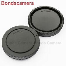 Black Camera Body Cover + Lens Rear Cap for Sony E NEX A7 A7R 7 6 A5000 16-50mm