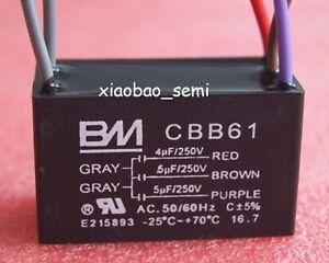 250VAC BM UL CBB61 CEILING FAN CAPACITOR 5uf+5uf+5uf 5 WIRE