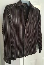 Men's Mexx Slim Fit Casual Shirt Stretch Striped Long sleeve cuff links size M
