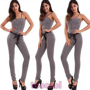 Overall-donna-tutina-intera-quadretti-skinny-zip-elasticizzata-hot-nuova-CR-2536