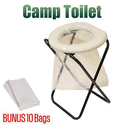 Portable Folding Outdoor Camp Toilet Camping Travel Caravan Hunting Bonus Bags