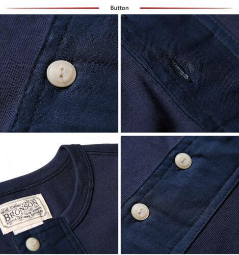 Bronson vintage poignets côtelés Henley Tee shirts d/'été Homme Basique T-shirts