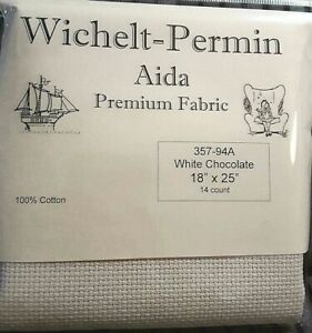 Wichelt-Imports-PREMIUM-Cross-Stitch-Fabric-AIDA-14ct-18-034-X-25-034-WHITE-CHOCOLATE