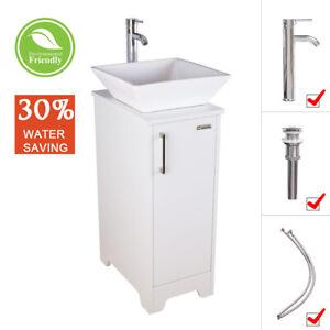 14 White Small Bathroom Vanity Cabinet Square Vessel Sink W Faucet Drain Set Ebay