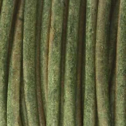 1 Metro de 5mm De Espesor Redondo Indio Cuero-Tinte Natural Verde Oscuro