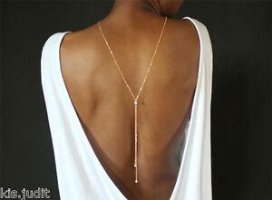 Sexi-collana-Y-da-schiena-con-perle-colore-bianco-Colore-Argento