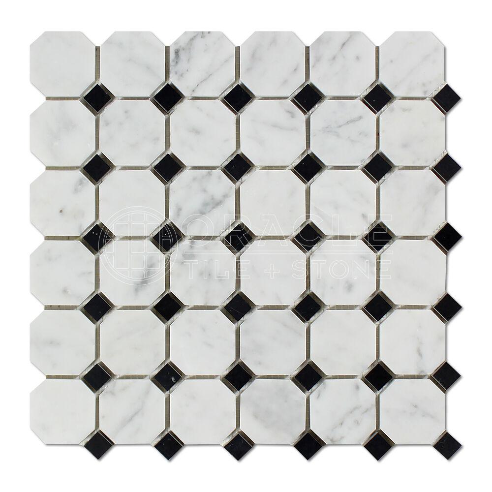Carrara Weiß Italian (Bianco Carrara) Marble Octagon Mosaic Tile