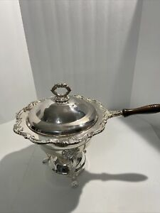 Vintage Silverplate 3 Piece Baroque Chafing Dish with Stand & Burner Unit -Towle