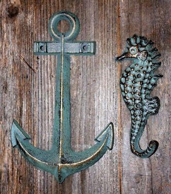 nautical bar decor.htm 2 pcs  anchor  seahorse  ocean decor nautical wall decor  coastal  ocean decor nautical wall decor