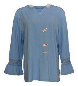 Denim & Co. Women's Top Sz L Bracelet-Sleeve Lace Trim Blue A307678