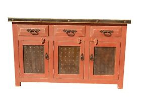 Rustic Bathroom Vanity Red Wash Metal Panel Doors 60 Inch Ebay