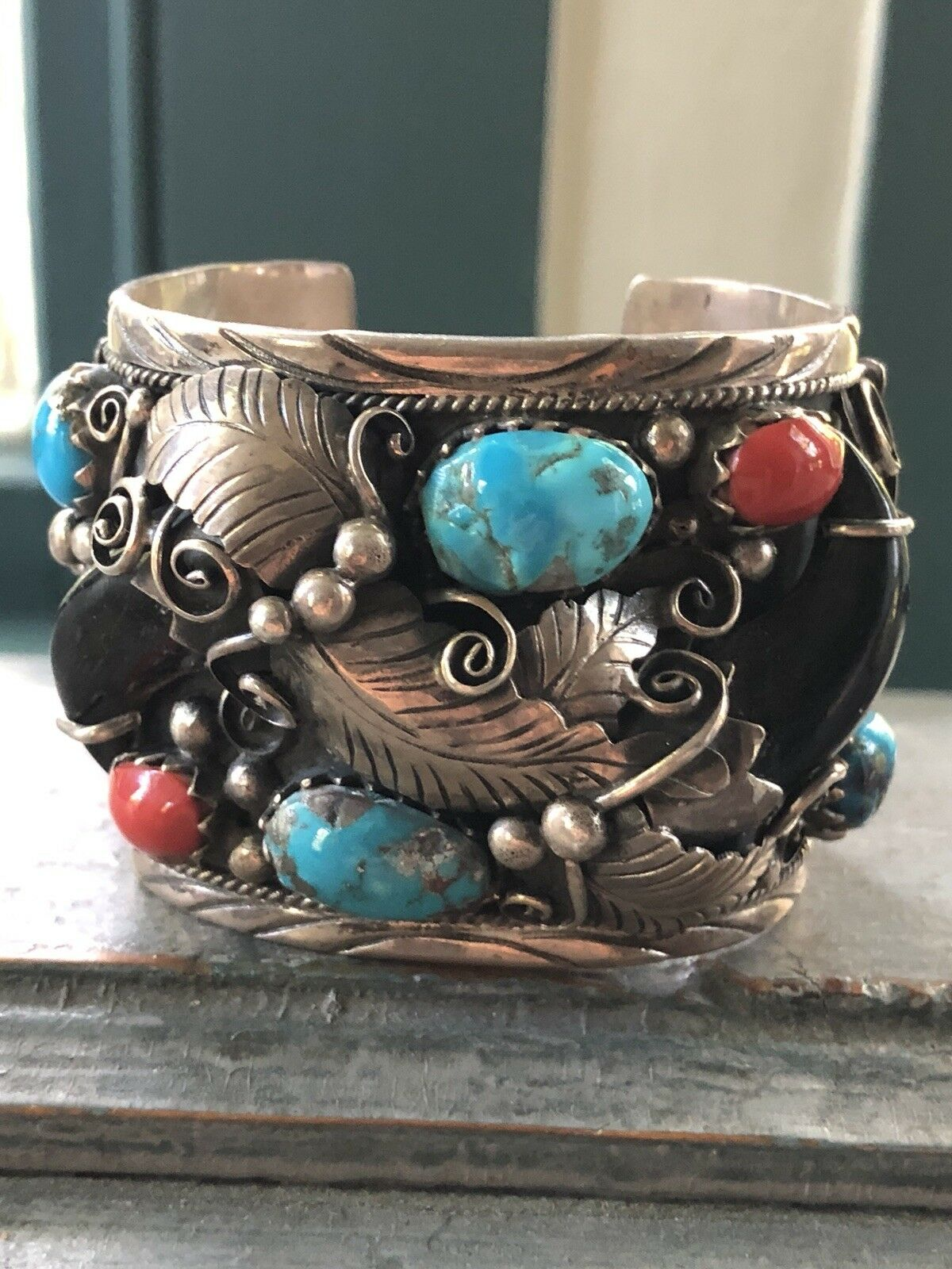 Vintage Navajo Two Hearts Turquoise Coral Cuff Bracelet Sterling Silver BR 2016