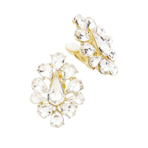 Glamour pelota cóctel orejas clips clip aretes de oro cristal claro 3 cm largo