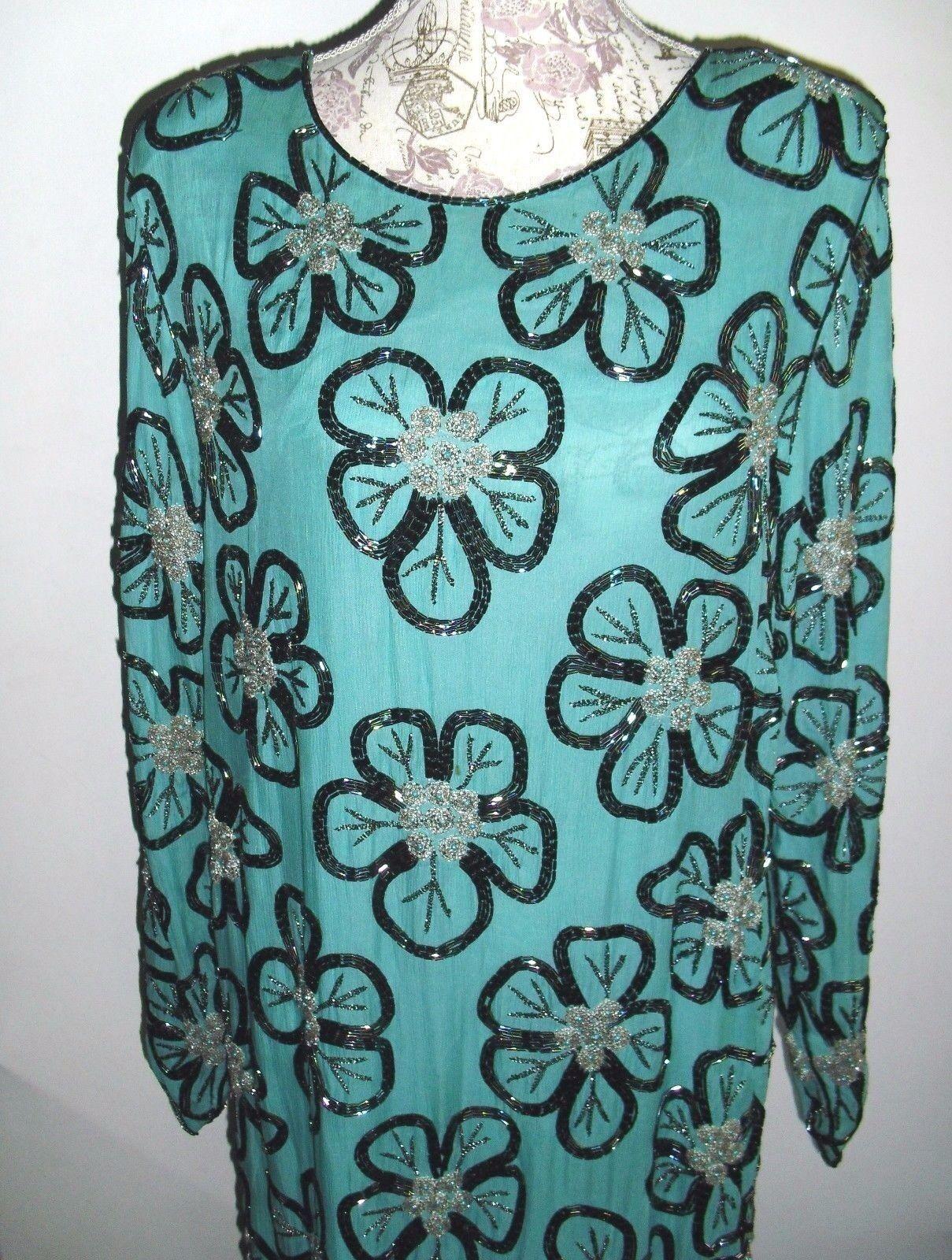 Vintage Creative Creations heavily beaded dress sz. L Good condition 100% silk