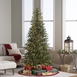 7.5 ft. Delicate Pine Slim Pre-Lit Christmas Tree, Green | eBay