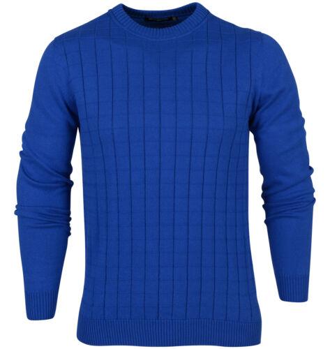 ESTILO MENS DESIGNER JUMPER CHECK PURE NEW 12GG KNITTED TOP CLASSIC BLUE SS16
