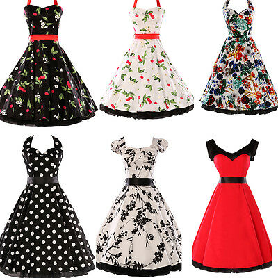 Rockabilly 50er Jahre Kleid Petticoat Polka Dot Dirndl Gothic Pin Up Karneval