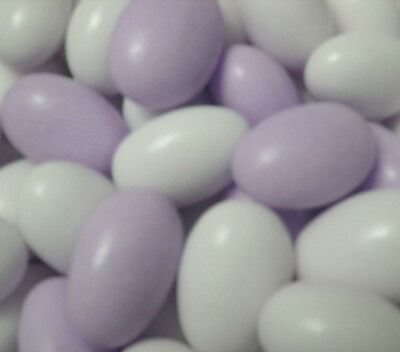 1KG LILAC AND WHITE SUGAR CANDY COATED ALMONDS-WEDDING  FAVOURS BABY SHOWER