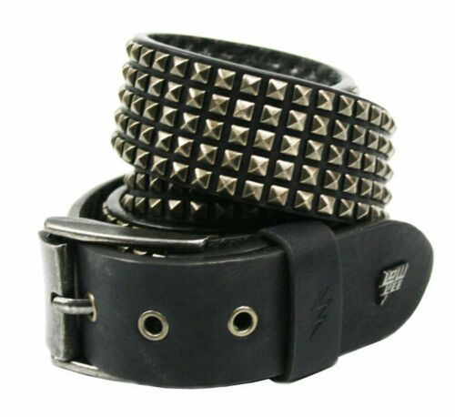 Lowlife Shrink Leather Belt in Black and Pewter