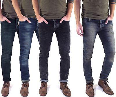Neu Herren Designer Slim Skinny Fit Röhren-jeans Enge Stretch Hose Schwarz Blau