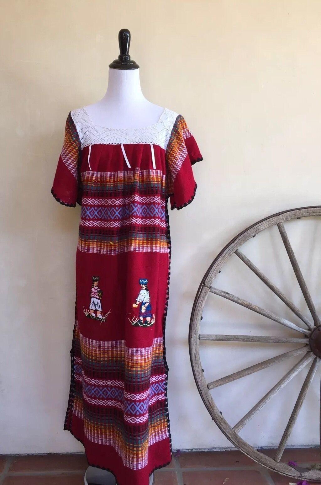 PERUVIAN MEXICAN SOUTH AMERICAN DRESS Vtg Farbeful Stripes Hand Woven Long M L