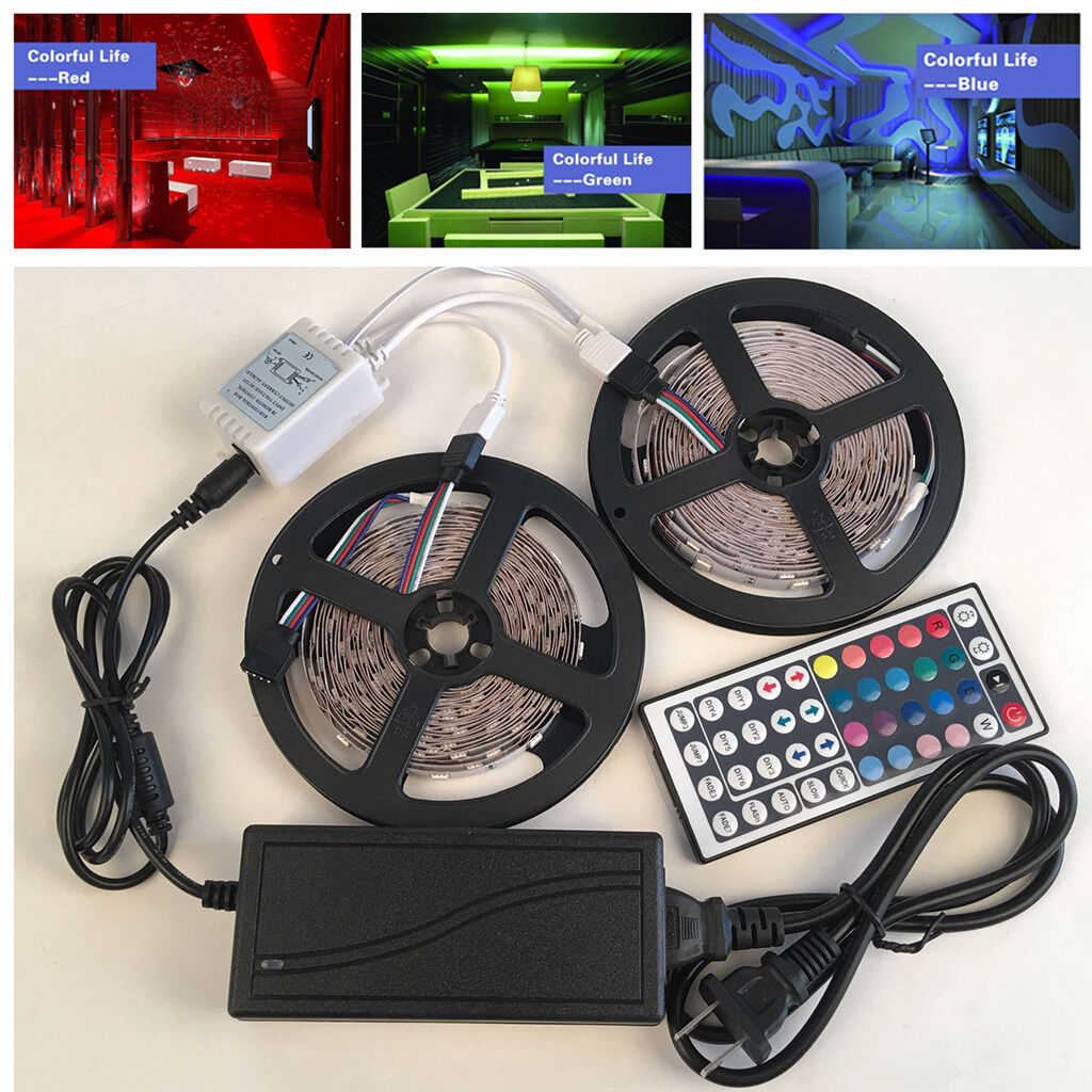 Details about 10M 5050 RGB LED Strip Light 12v Power Supply Adapter 44Key  IR Remote Controller