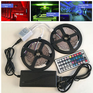 10M-5050-RGB-LED-Strip-Light-12v-Power-Supply-Adapter-44Key-IR-Remote-Controller